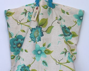 Canvas Bag: Cheery Blue Flowers, washable