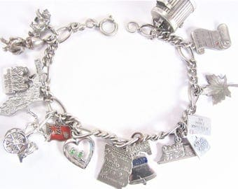 Vintage Sterling Charm Bracelet Fourteen Charms