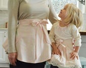 Pink Princess Aprons - Pink and Cream Damask Half Aprons, Lace, Women, Girl, Mommy and Me Aprons, Vintage, Apron Set, Mother and Daughter