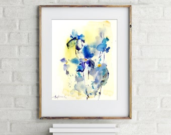 Abstract Painting, ORIGINAL Watercolor Painting, floral painting, blue yellow, modern abstract wall art, watercolour art