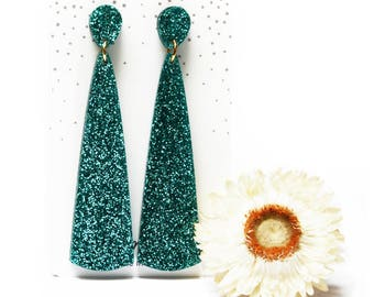Turquoise Drop Earring · Turquoise Glitter Earring · Long Cone Earring · Turquoise Earring