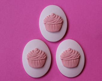 40x30mm Unset Lavender & Pink Cupcake Cameo Set of 3