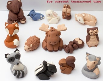 Fondant woodland animals - See shipping section below for turnaround time