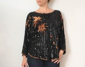 SALE // Vintage Sequin Top / 1980s Sequin Top / Sequin Shirt / 1980s Clothing / Sequin Top Women / Black Sequin Shirt
