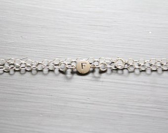 Sterling Silver Simple F Initial Bracelet, Silver Stamped F Bracelet, Stamped F Initial Bracelet, Small F Initial Bracelet, F Bracelet