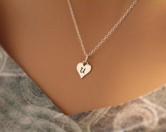 Sterling Silver U Letter Heart Necklace, Silver Tiny Stamped U Initial Heart Necklace, Stamped U Letter Charm Necklace, U Initial Necklace