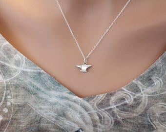 Sterling Silver Tiny Anvil Charm Necklace, Anvil Charm Necklace, Anvil Necklace, Anvil Tool Charm Necklace, Silver Anvil Necklace