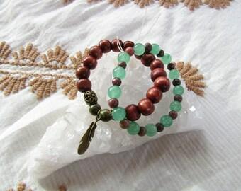 Unakite, Aventurine, Rhodonite & Wood Beaded Bracelet Set || Crystal Healing Jewelry