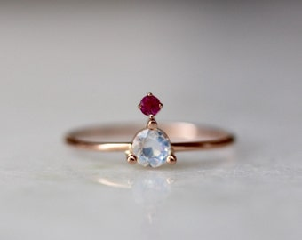 14K Moonstone Ruby Ring, Rainbow Moonstone, Blue Moonstone, Mixed Stone Ring, Floating Stone, Rose Gold, Yellow Gold, Solid Gold