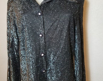 FREE  SHIPPING  1970 Silver Metallic  Blouse