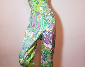 FREE  SHIPPING  1960  Malcolm  starr palazzo psychedelic JUMPSUIT