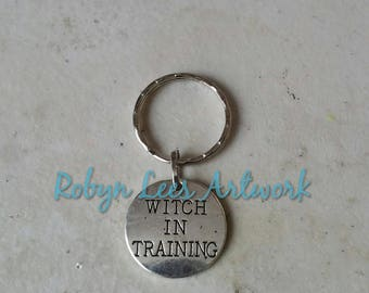 Small Silver Witch in Training Stamped Disc Keyring on Silver Split Ring or Bag Clip. Wicca, Wiccan, Pagan, Nature, Magic, Costume, Horror