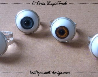Small eyeball ring - silver eye eyeball ring 16mm plastic