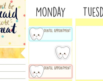 Kawaii Dental Tooth Planner Stickers for ECLP, Happy Planner, Kikki.K, Filofax, Scrapbooking