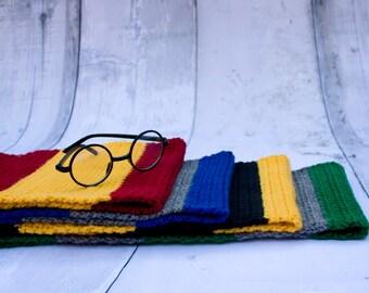 Hogwarts House Scarves -- Set of 4 -- Harry Potter, Gryffindor, Hufflepuff, Ravenclaw, Slytherin, Hogwarts Scarf, Striped, Extra Long Scarf
