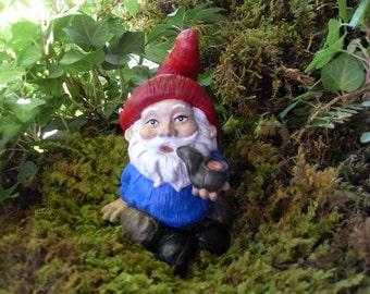 Garden Gnome, Hand Painted Wood Cut Style Garden Gnome,Smoking Gnome,Pipe Smoking Gnome,Gnome Garden Decor,Concrete Gnome