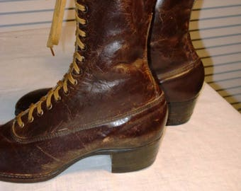 1910s unworn ladies brown high top shoes by Red Rover.  Great condition.