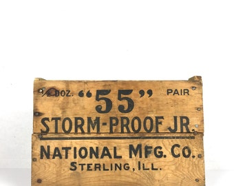 Antique Wood Crate 55 Storm Proof Jr Wooden Crate Vintage Wood Crate 1930s Small Advertising Crate Sterling Illinois