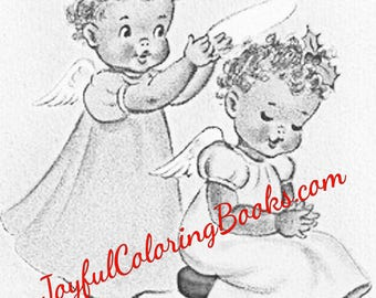 5 african american grayscale coloring book pages angels and santa clause - African American Coloring Books