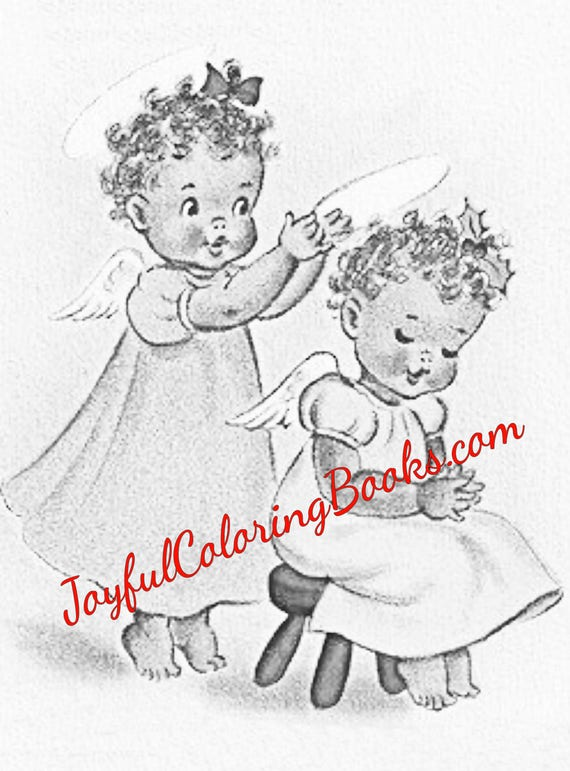 5 African American Grayscale Coloring Book Pages Angels and Santa Clause