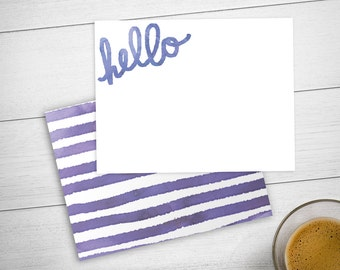 Notecard Set with Hello / Personalized Stationery Set with Watercolor Hello