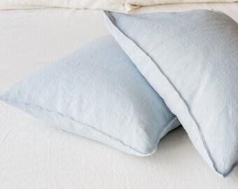 Linen PILLOWCASE, Stonewashed linen pillow case in sky blue, Softened linen pillow slip, Regular linen pillow cover, Linen pillow slip