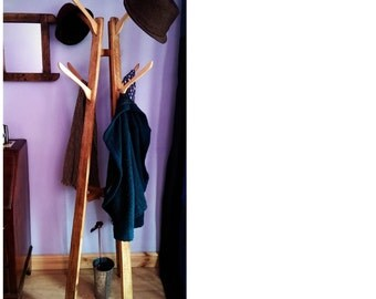 coat, hat stand, hall tree, wood natural & eco friendly with upcycled hooks, UK COURIER costs are NOT included - handmade in Somerset