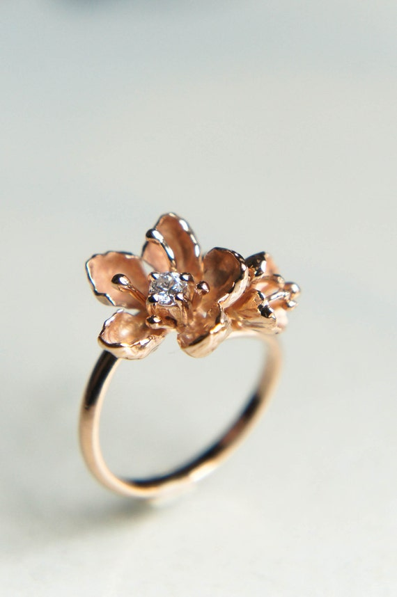 Unique engagement ring 14K gold ring diamond ring cherry