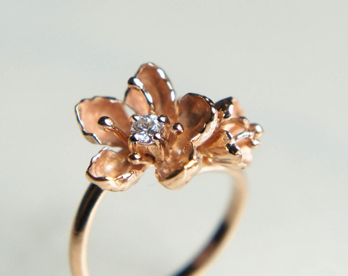 Featured listing image: Unique engagement ring, 14K gold ring, diamond ring, cherry blossom ring, flower engagement ring, proposal ring, one of a kind ring
