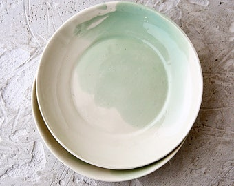 Ceramic plates,ceramic dinnerware,green plate,pasta plate,modern pottery,serving dish,porcelain plate,dinner plate,stoneware dinnerware
