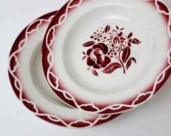 DIGOIN Rustic Dinnerware White and Red Floral Plates, Salad Plates Ceramic Dinnerware, Ceramic Plates, Shabby Chic Plates Set China D639