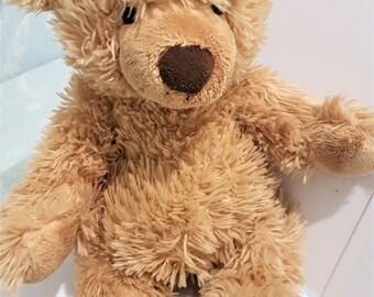 Traditional teddy bear, vintage teddy, fluffy bear, cuddly child's toy, Bear Factory bear, vintage 1980s