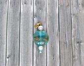teal blue pendant, gold jewelry charm, handmade jewelry, tiny pendant with glass bead, summer jewelry, handmade girls gift