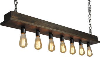 Rustic Beam Chandelier- Narrow Edison Chandelier,  Restaurant Lighting