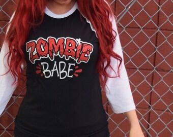 Zombie Babe - Glitter Baseball Raglan Shirts 3/4 Sleeve