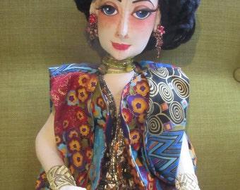 OOAK Art Deco cloth boudoir doll, Adele