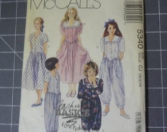 McCall's 5340 Fashion Basics for Kids Girls Dress and Jumpsuit  1991  Size CJ (10-12-14)