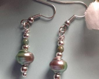 Swarovski earrings,aurora bourelis earrings, turquoise, beach earrings, beaded earrings , turquoise jewelry, handmade, dangle earrings