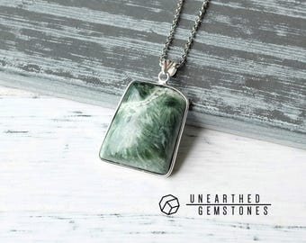 Gemstone Necklace with Seraphinite Stone Necklace, Seraphinite Necklace, Green Stone Pendant, Natural Seraphinite Pendant