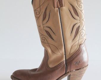 Vintage Tan and Brown Embellished Frye Heeled Boots