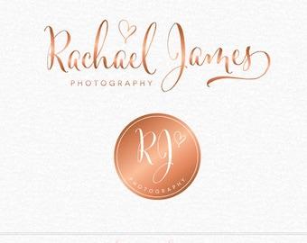 Premade Copper Logo, Rose Gold Logo, Photography Logo, Heart Logo, Bronze logo, Makeup Artist Logo, Business Logo, Circle Logo, Logo Design