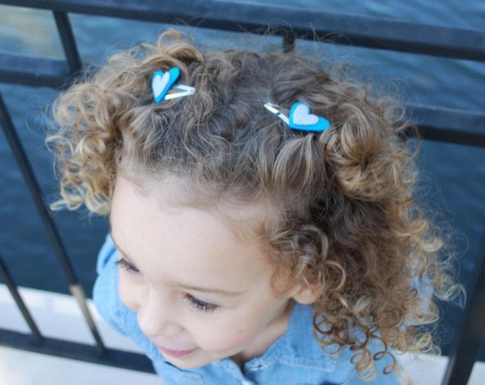 Girls Blue and Grey Heart Hair Clip Set - Heart Hair Clips - Felt Heart Hair Clips - Girls Hair Clips -Baby Girl Hair Clips-Kids Hair Clips