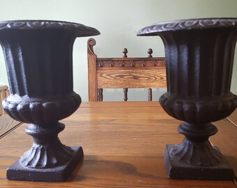 """Pair of Cast iron planters,8.75"""" tall"""