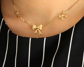 Gold Bow Necklace - Bow Necklace - Triple Bow Necklace