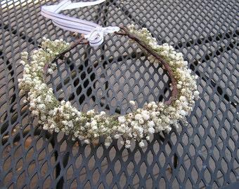 Bridal Hair Crown, Baby's Breath Flower Crown, Dried Flower Hair Piece, Wedding Crown Bridesmaid Hair Crown, Rustic Crown White Flower Crown