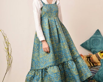 Fine Art Collection oil India Summer traditional pattern blue golden dress