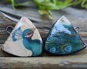 Peacock-  Handmade Porcelain Picture Beads