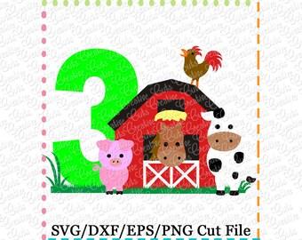 Barn with Animals Birthday 3 svg cutting file, farm animals svg, horse svg, cow svg, pig svg, barn svg, farm svg, 3rd birthday, farm animals