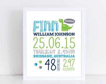 Personalised birth details print / Baby birth print / Baby birth stats / Dinosaur print / Nursery decor / Nursery wall art / Boy nursery art