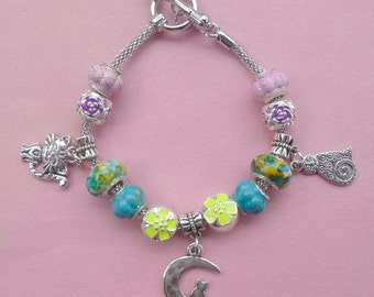 14-Cat on the Moon ~ Pand*ra Style Charm Bracelet Yellow 3